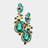 Emerald Crystal Floral Vine Evening Earrings
