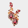 Red Crystal Floral Vine Evening Earrings  | 285187