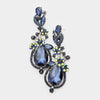 Navy Crystal Floral Vine Evening Earrings