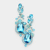 Aqua Crystal Floral Vine Evening Earrings