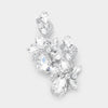 Clear Crystal Floral Chandelier Pageant Earrings | Prom Earrings| 399195