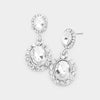 Little Girls Clear Crystal Round Drop Earrings on Silver  | 464616