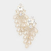 Crystal Rectangle Rhinestone Chandelier Earrings on Gold