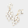 Clear Crystal Marquise Cluster Pageant Earrings on Gold | Prom Earrings