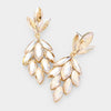Light Topaz Crystal Marquise Cluster Pageant Earrings on Gold | Prom Earrings