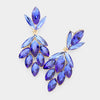 Blue Crystal Marquise Cluster Pageant Earrings on Gold | Prom Earrings