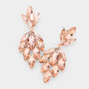 Peach Crystal Marquise Cluster Pageant Earrings | Prom Earrings