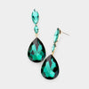 Small Double Emerald Crystal Teardrop Earrings  | 434252