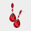 Small Double Red Crystal Teardrop Earrings