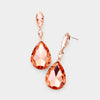 Small Double Peach Crystal Teardrop Earrings