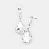 Small Double Clear Crystal Teardrop Earrings on Silver