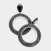 Black Rhinestone Hoop Earrings