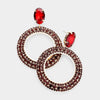 Dark Red Rhinestone Hoop Earrings