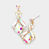 Small AB Crystal Abstract Dangle Earrings on Gold