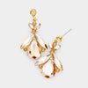 Small Gold Crystal Abstract Dangle Earrings | 452318