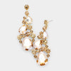 Gold Crystal Pear Shaped Vine Pageant Earrings on Gold | Prom Jewelry