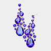 Sapphire Crystal Pear Shaped Vine Pageant Earrings on Gold | Prom Jewelry