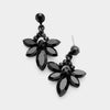 Small Black Crystal Floral Drop Pageant Earrings | Interview Earrings