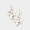 Small Clear Crystal Floral Drop Pageant Earrings on Gold | Interview Earrings