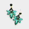 Small Emerald Crystal Floral Drop Pageant Earrings on Gold | Interview Earrings