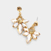 Small Topaz Crystal Floral Drop Pageant Earrings on Gold | Interview Earrings