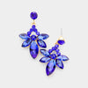 Small Sapphire Crystal Floral Drop Pageant Earrings on Gold | Interview Earrings