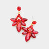 Small Red Crystal Floral Drop Pageant Earrings on Gold | Interview Earrings