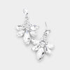 Small Clear Crystal Floral Drop Pageant Earrings  | Interview Earrings