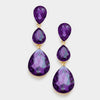 Purple Crystal Triple Teardrop Earrings | 286437
