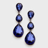 Navy Crystal Triple Teardrop Earrings