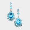 Little Girls Aqua Rhinestone and Teardrop Earrings