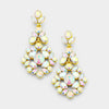 AB Crystal on Gold Chandelier Earrings