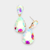 AB Crystal Double Teardrop Pagent Earrings for Little Girls