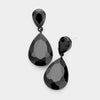 Black Crystal Double Teardrop Pagent Earrings for Little Girls