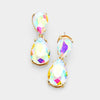 Small AB Crystal Double Teardrop Pageant Earrings on Gold