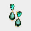 Small Emerald Crystal Double Teardrop Pageant Earrings on Gold