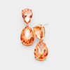 Small Peach Crystal Double Teardrop Pageant Earrings