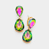 Small Multi-Color Crystal Double Teardrop Pageant Earrings on Gold