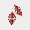 Floral Dark Red Crystal Statement Stud Evening Earrings