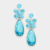 Aqua Cluster Crystals with Oval Drop Pageant Earrings | Prom Earrings