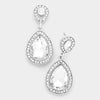 Small Clear Crystal Rhinestone Teardrop Earrings