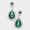 Small Green Crystal Rhinestone Teardrop Earrings