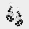 Baguette Cut Jet Black Crystal Rhinestone Pageant Earrings | Prom Earrings