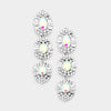 AB Triple Drop Crystal Dangle Earrings