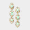 Mint Triple Drop Crystal Dangle Earrings