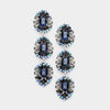 Navy Triple Drop Crystal Dangle Earrings