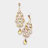 Gold Crystal Chandelier Earrings Made of Teardrops on Gold | Prom Earrings| Pageant Earrings
