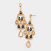 Multi-Color Crystal Chandelier Earrings Made of Teardrops on Gold| Prom Earrings| Pageant Earrings
