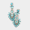 Aqua Crystal Rhinestone Detailed Pageant Earrings | Prom Earrings