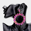 Large Purple Teardrop Round Pageant Earrings on Gold | 447185